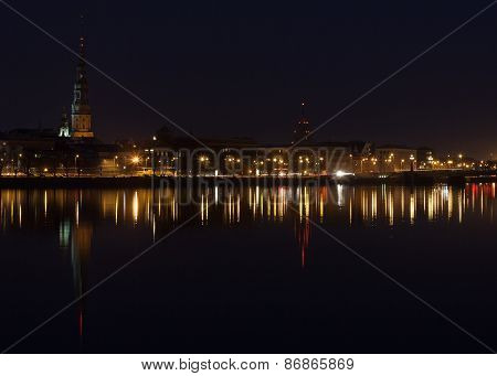 Night view of Riga centre with reflection in Daugava river