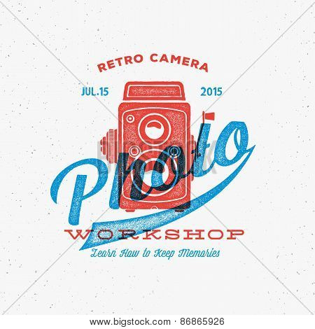 Retro Camera Photo Workshop Label or Logo Template with Typography