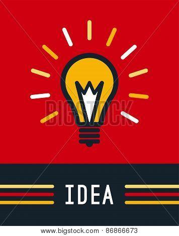 Creative idea with bulb shape. Imagine concept. Flat lightbulb i