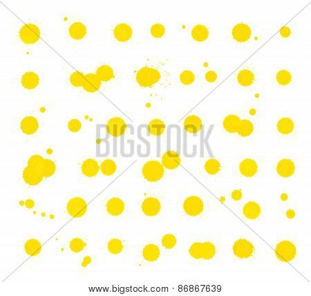 Yellow ink stain spot collection