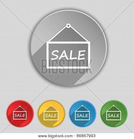 Sale Tag Icon Sign. Symbol On Five Flat Buttons. Vector