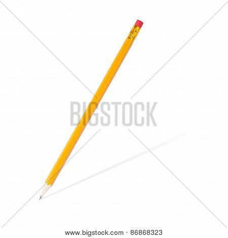 sharpened wooden pencil with shadow