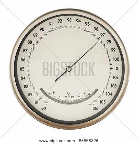 Old barometer isolated