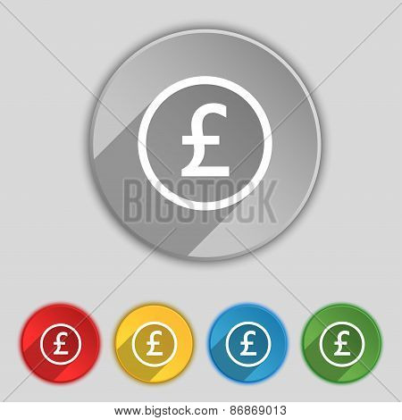 Pound Sterling Icon Sign. Symbol On Five Flat Buttons. Vector
