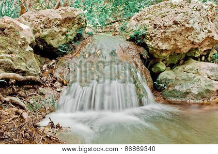 Close up of little waterfall