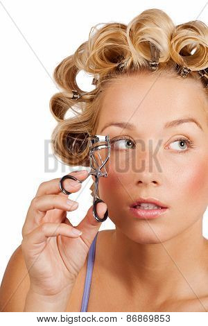 Girl Curling Lashes