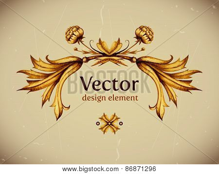 Vector vintage decor. Floral vector. Vintage label. Vintage fram