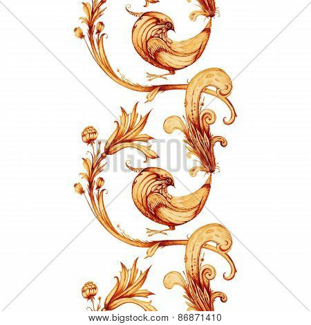 Vector watercolour painting. Firebird and flowers isolated on wh