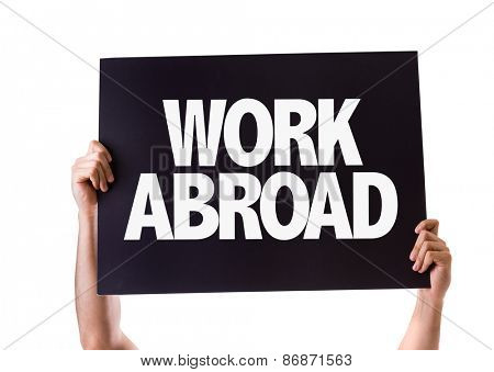 Work Abroad card isolated on white