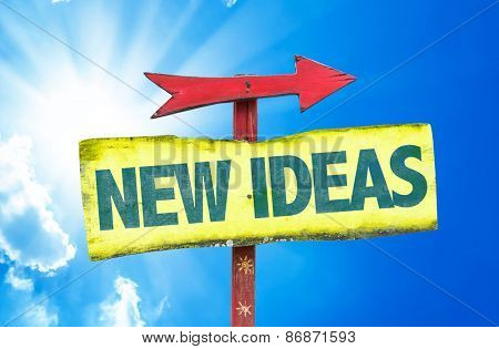 New Ideas sign with sky background