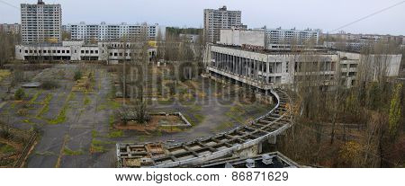 Panoramic view of central square in Pripyat, Chernobyl zone