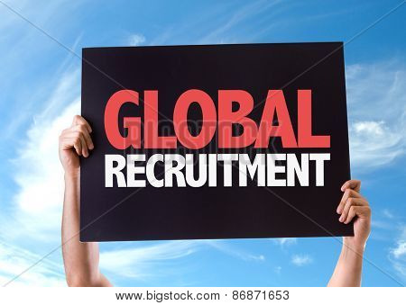Global Recruitment card with sky background