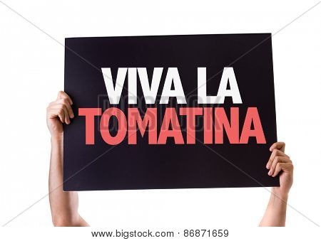 Cheers for the Tomatina Party (in Spanish) card isolated on white