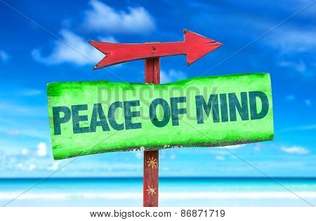 Peace of Mind sign with beach background