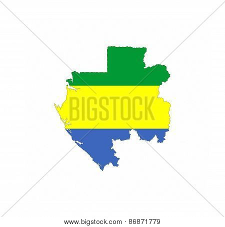 Gabon Flag Map