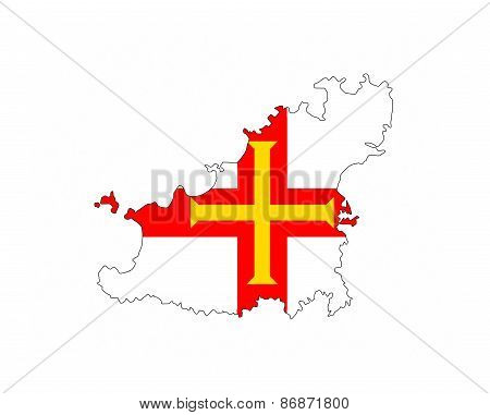Guernsey Flag Map