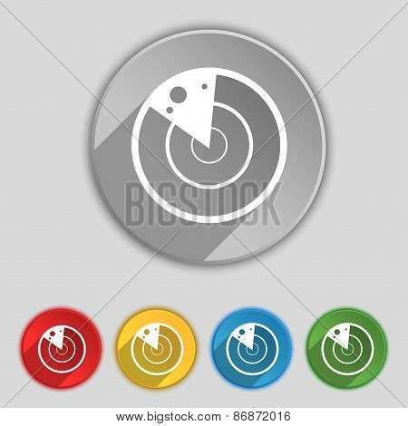 Radar Icon Sign. Symbol On Five Flat Buttons. Vector