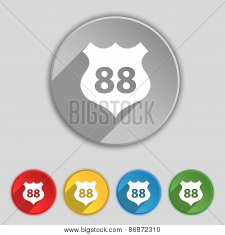 Route 88 Highway Icon Sign. Symbol On Five Flat Buttons. Vector