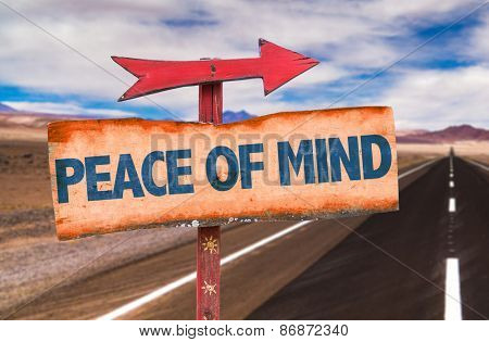 Peace of Mind sign with road background