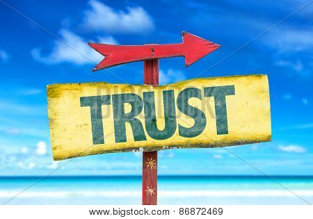 Trust sign with beach background