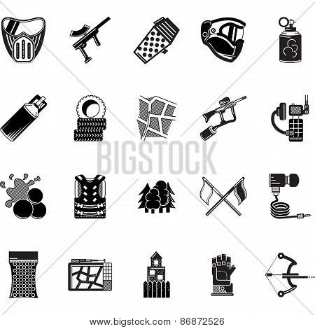 Paintball black icons vector collection
