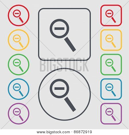 Magnifier Glass, Zoom Tool Icon Sign. Symbol On The Round And Square Buttons With Frame. Vector
