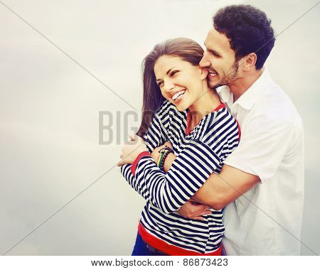 Happy Young Couple In Love At The Lake Outdoor On Vacation, Harmony Concept