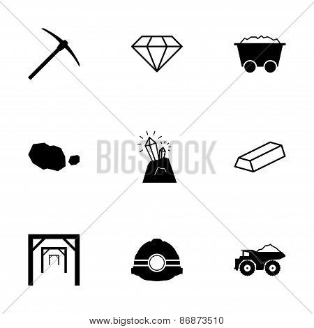 Vector black mining icons set