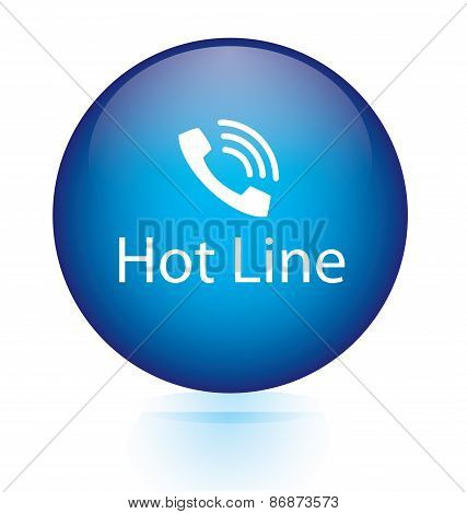 Hot line word blue button