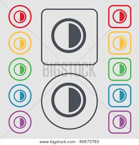 Contrast Icon Sign. Symbol On The Round And Square Buttons With Frame. Vector