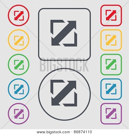 Deploying Video, Screen Size Icon Sign. Symbol On The Round And Square Buttons With Frame. Vector