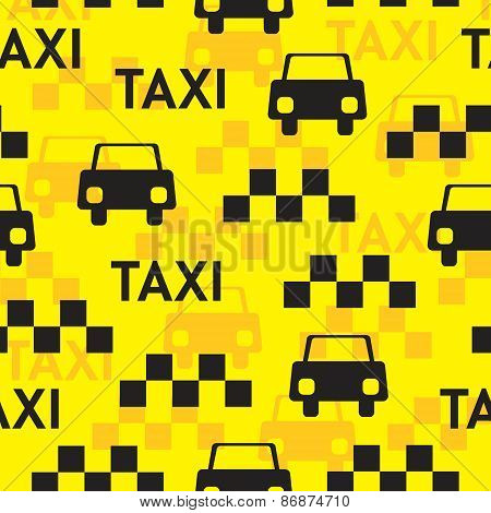 Taxi. Seamless vector pattern with symbols taxi.