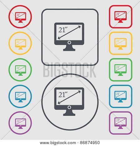 Diagonal Of The Monitor 21 Inches Icon Sign. Symbol On The Round And Square Buttons With Frame. Vect