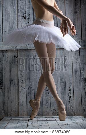 Studio shot, young legs graceful ballerina