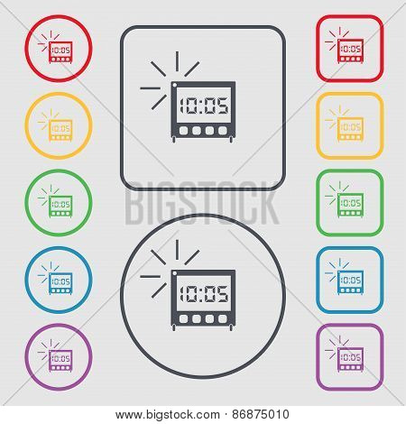 Digital Alarm Clock Icon Sign. Symbol On The Round And Square Buttons With Frame. Vector