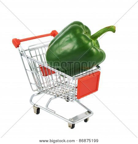 Green pepper in a shipping cart