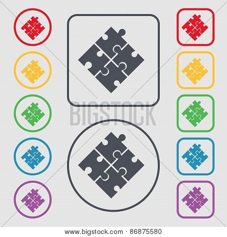 Puzzle Piece Icon Sign. Symbol On The Round And Square Buttons With Frame. Vector