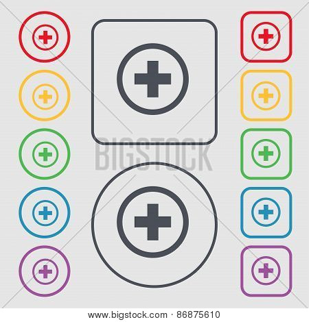 Plus, Positive, Zoom Icon Sign. Symbol On The Round And Square Buttons With Frame. Vector