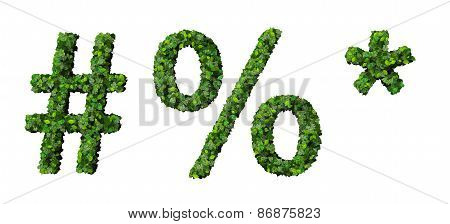 Alphabet signs made from green leaves isolated on white background. 3d render.