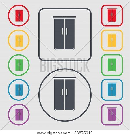 Cupboard Icon Sign. Symbol On The Round And Square Buttons With Frame. Vector
