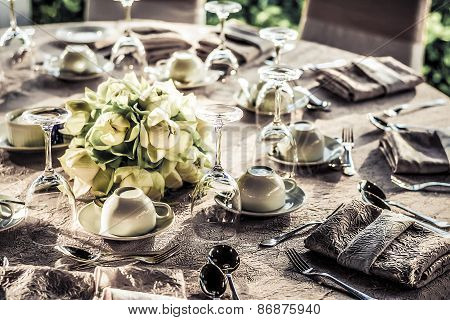 Dining Table Preparation In A Luxury Restaurant In Grunge Color Style
