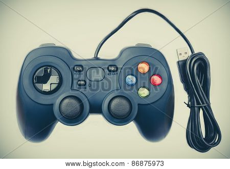 Old Black Joystock For Console Video Game In Isolated Background