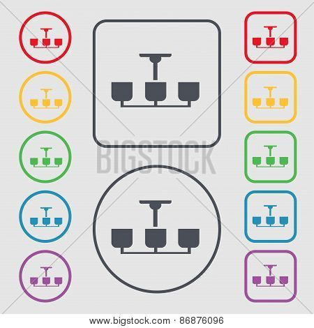 Chandelier Light Lamp Icon Sign. Symbol On The Round And Square Buttons With Frame. Vector