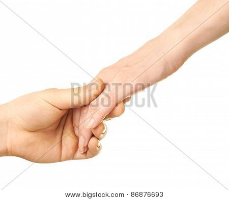 Male and female caucasian hands isolated