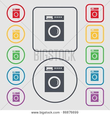 Washing Machine Icon Sign. Symbol On The Round And Square Buttons With Frame. Vector