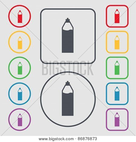 Plastic Bottle With Drink Icon Sign. Symbol On The Round And Square Buttons With Frame. Vector