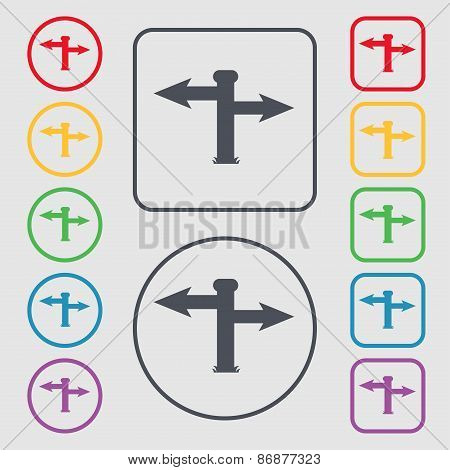 Blank Road Sign  Icon Sign. Symbol On The Round And Square Buttons With Frame. Vector