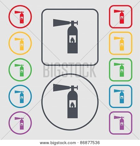 Fire Extinguisher Icon Sign. Symbol On The Round And Square Buttons With Frame. Vector