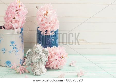 Postcard With Fresh Flowers Hyacynths And Angel