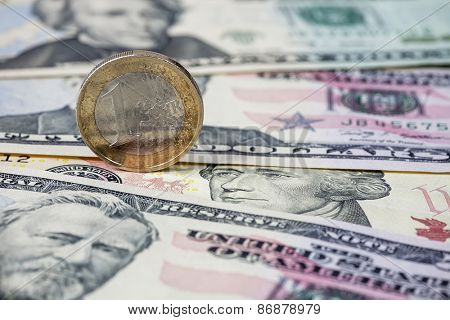 Dollars and Euro coin